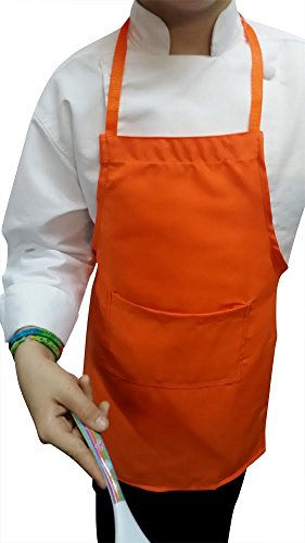 LOT OF 25 CHEFSKIN CHILDREN APRONS, REAL FABRIC SMALL (FITS KIDS 2-8) WE SHIP FAST, RECEIVE IN 2-3 DAYS (ORANGE) by CHEFSKIN