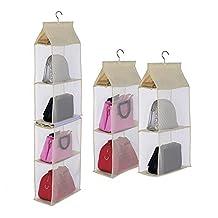 Hanging Purse Organizer,Businda Hanging Purse Handbag 4 Slot 2 in 1 Hanging Closet Bags for Women