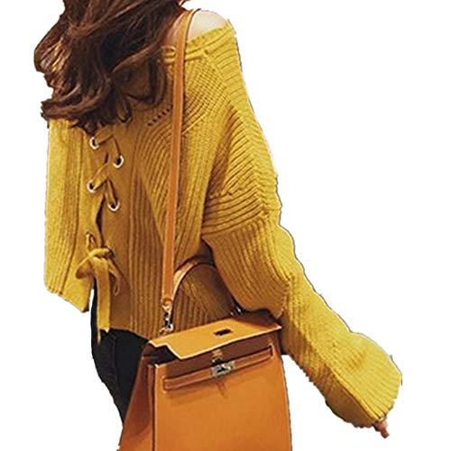 Donna Puseky Maglia Top Maglione Lunghe Lavorato In Maniche Con Yellow Lunghe Autunno A q1OEdr01w