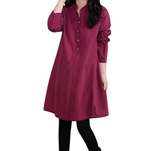 HYIRI ✈Stand Neck Button Dress,Fashion Women Loose Bohe Casual Long Retro -