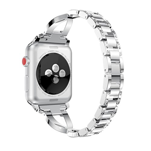 Diamonds Ladies Womens Watch - GBSELL Fashion Women Crystal Stainless Steel Band Strap for Apple Watch 1/2/3 38mm (Silver)