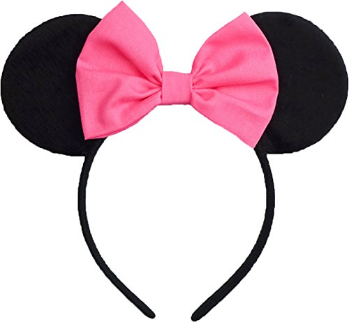 Minnie Mouse Ears Inspired Hot Pink Hair Bow Headband Women Girls Mickey Birthday Party Theme Outfit by Sweet in the City -