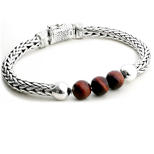 5.5MM Braided Woven Bali Link Chain 925 Sterling Silver with Tiger Eye Bead Bracelet for Women (7) (Sterling Eye Silver Bead Tiger)