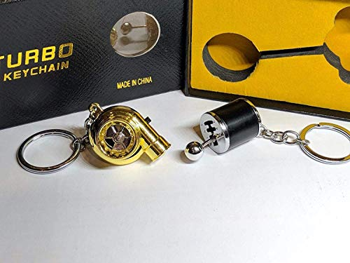 Be-Creative Electric LED Turbo Charger Keyring 2 Turbo Sounds,Spin,Light Retail Packing (Black Gear + Gold Turbo):