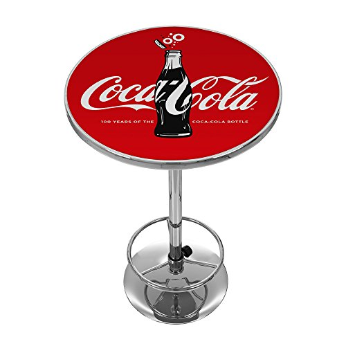 Chrome Gameroom Table - Trademark Gameroom 100th Anniversary of The Coca-Cola Bottle Pub Table, Chrome
