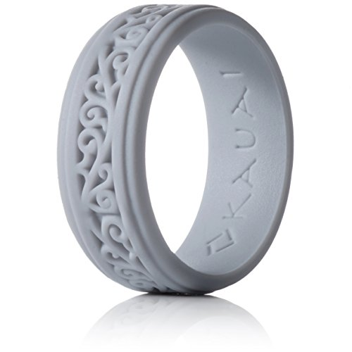 Gray Womens Ring - Kauai Silicone Wedding Rings - Largest Leading Brand, from the Latest Artist Design Innovations to Leading-Edge Comfort: Pro-Athletic Ring and Elegance Collection for Men and Women