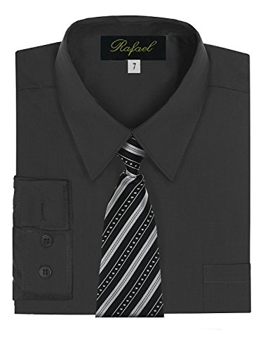 Boy's Dress Shirt & Tie - Black, 18