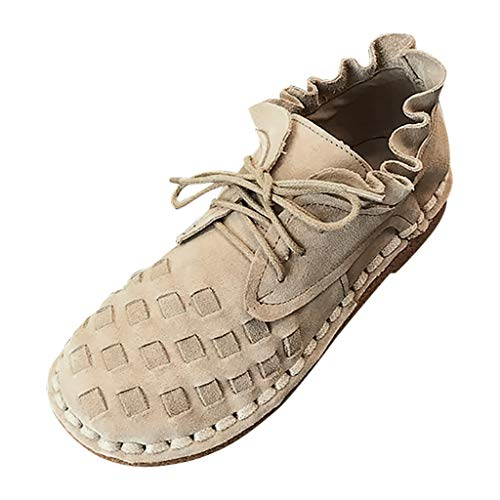 ANJUNIE Women's Rome Ankle Shoe Solid Large Size Lace-Up Low Flat Heels Knit Bud Bootie