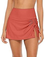 ALove Women Solid Swim Skirt with Brief Skirted Swimsuit Bottom Tankini Shorts