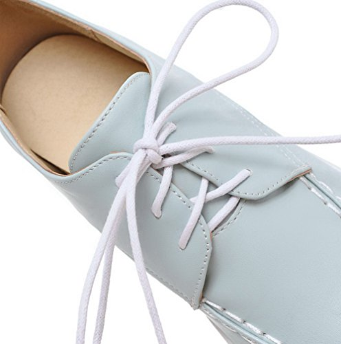 AllhqFashion Damen Mittler Absatz Weiches Material Rein Schnüren Rund Zehe Pumps Schuhe Blau