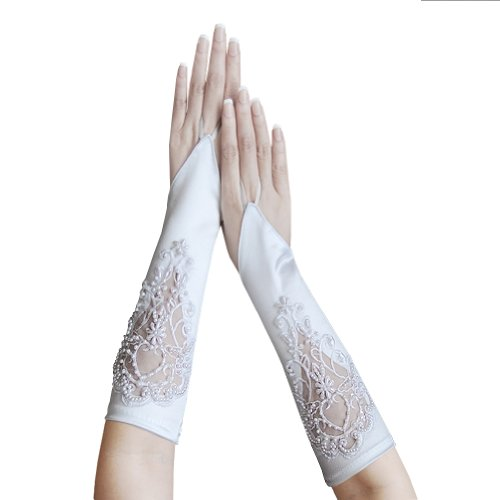 ZaZa Bridal Satin Fingerless Gloves w/Floral Embroidery Lace, Sequins & Pearls-White by ZaZa Bridal