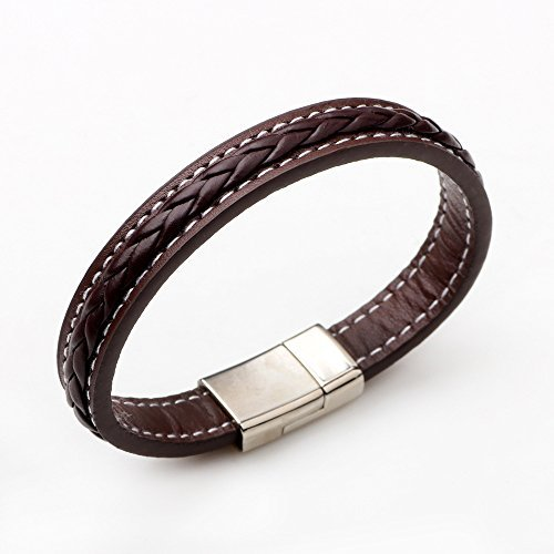 The November Nocturne Men's Handmade Simple Brown Leather Braided Classic Punk Fashion Titanium Steel Bracelet