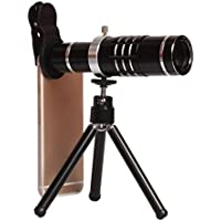 18X Telephoto Lens Clip-on Cell Phone Camera Telescope Lens with Flexible Tripod and Clamp for iPhone, Samsung, HTC, LG and Most Smartphone (Black)