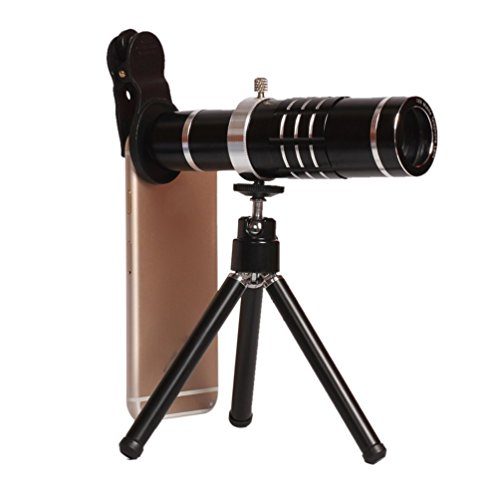 18X Telephoto Lens Clip-on Cell Phone Camera Telescope Lens with Flexible Tripod and Clamp for iPhone, Samsung, HTC, LG and Most Smartphone (Black) by Vker
