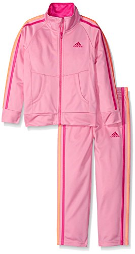 Price comparison product image adidas Little Girls' Tricot Zip Jacket and Pant Set, Pink/Pink, 6X