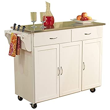 Perfect Kitchen Cart With Stainless Steel Top Base Finish: White