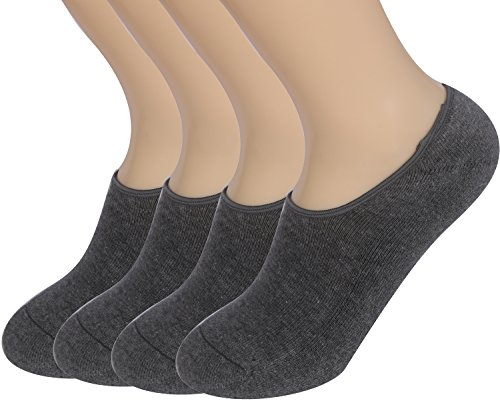 Areke Women's Comfort Thick No Show Low-Cut Athletic Socks 4-10 Pack Color 4Pair Dark Gray Size US Shoe Size 8-12