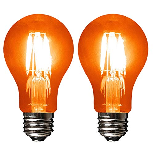 SleekLighting LED 4Watt Filament A19 Orange Colored Light Bulbs Dimmable - UL Listed, E26 Base Lightbulb - Energy Saving - Lasts for 25000 Hours - Heavy Duty Glass - 2 Pack -