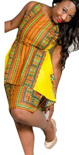 Africano Maniche Domple Irregolari Abito Stampa Partito Gialli Mini Sottile Donne Dashiki Senza Del nY1qOHww