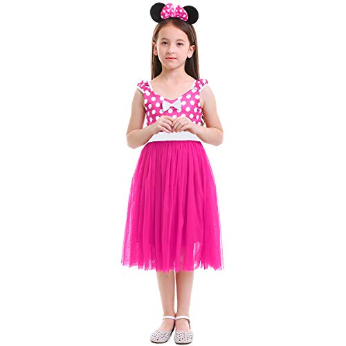 Minnie Costume Little Girl Birthday Tutu Dress with Ear Headband Polka Dots Christmas Holiday Dress Up Princess Outfits Long Dress Hot Pink 6-7 Years