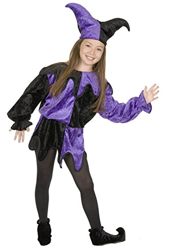 Purple and Black, CHILD Large 10-12 - Playful Jester (Not included - shoes and tights) (Jester Shoes)