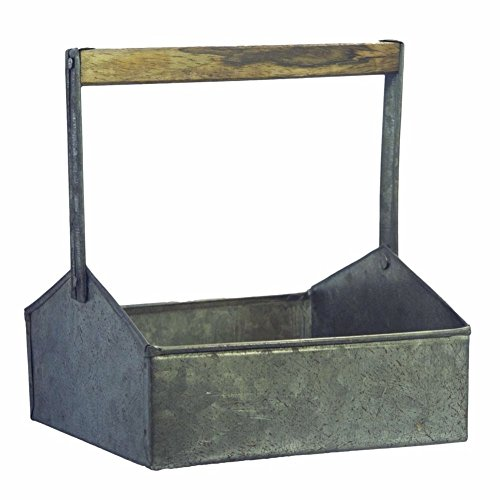 - Benzara AMC0007 Galvanized Metal Beverage Napkin Caddy Organizer, Gray