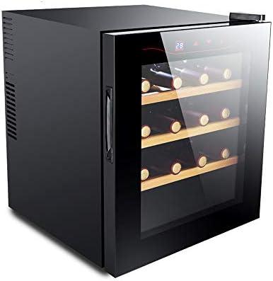 HYYQG Led Nevera para Vinos, Bebidas Nevera 16 Capacidad Botella Pantalla TáCtil Digital Inteligente Vidrio Negro EnergíA Baja Termostato Acero Inoxidable Refrigerador Gabinete para, Black
