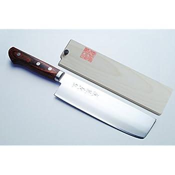 "Yoshihiro VG-1 Gold Steel Nakiri Vegetable Chefs Knife 6.5"" (165mm) Magnolia Wood Saya Cover"