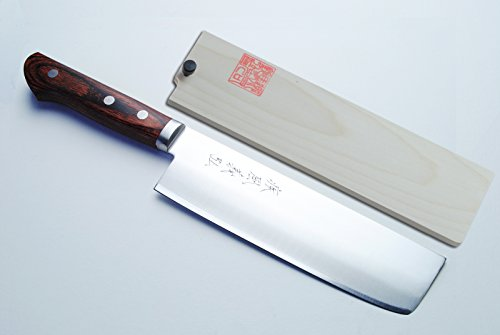 Yoshihiro VG-1 Gold Steel Nakiri Vegetable Chefs Knife 6.5'' (165mm) Magnolia Wood Saya Cover by Yoshihiro