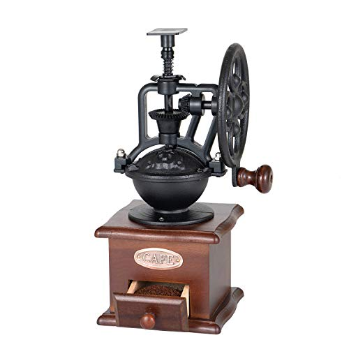 SOPRETY Manual Coffee Grinder Mill Antique Wooden Hand Crank Coffee MillCoffee Grinder Roller Grain Mill With Grind Settings & Catch Drawer or Home Use and Travel, Vintage