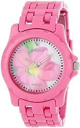 Sprout Women's ST6001PMPK Diamond Pink Flower Dial and Corn Resin Bracelet Watch