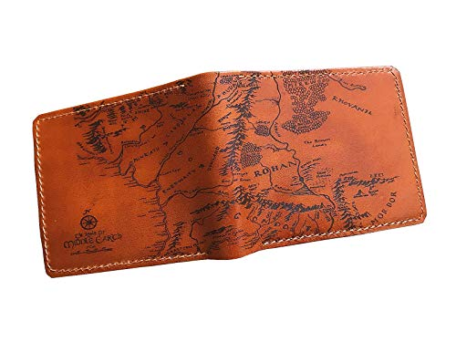 Unik4art - Lord of The Rings Middle Earth map genuine leather men wallet leather handmade customization personalized gift ()