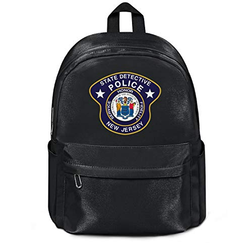 New Jersey State Detectives College Bookbag Casual Nylon Lightweight 13 Inch Laptop Compartment Backpack College Bookbag