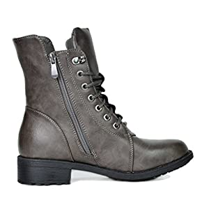 DREAM PAIRS Women's Panther Grey Mid Calf Military Combat Boots Size 10 M US
