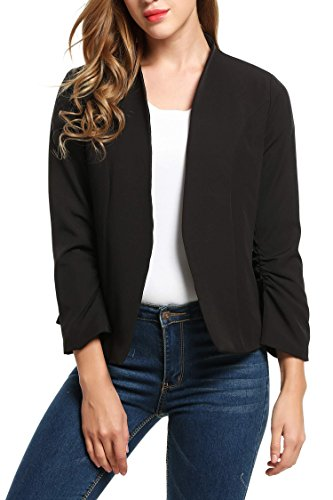 Women Long Sleeve Slim Suit Jacket Coat Black - 4