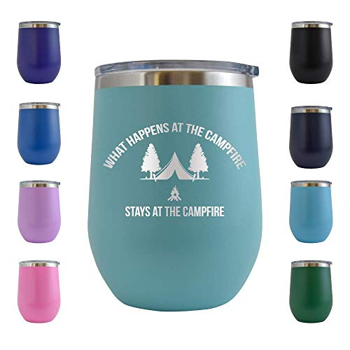 What Happens at the Campfire Stays at the Campfire - Engraved 12 oz Stemless Wine Tumbler Cup Glass Etched - Funny Birthday Gift Ideas for him, her, Camp Camping Glamp Glamping (Teal - 12 oz)]()