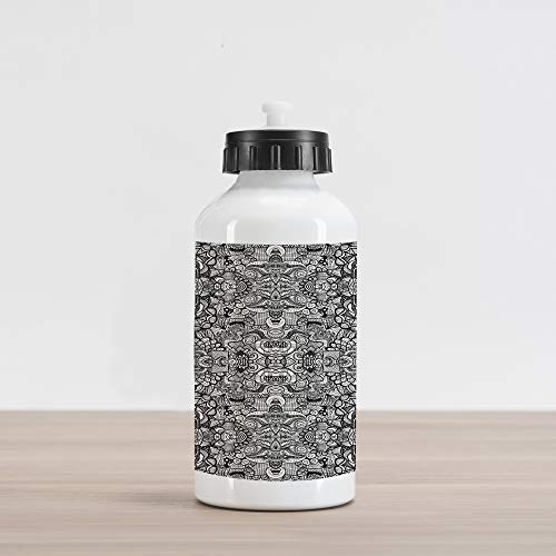 Ambesonne Abstract Aluminum Water Bottle, Abstract Composition Floral and Geometric Elements Symmetrical Tattoo Design, Aluminum Insulated Spill-Proof Travel Sports Water Bottle, Beige Black