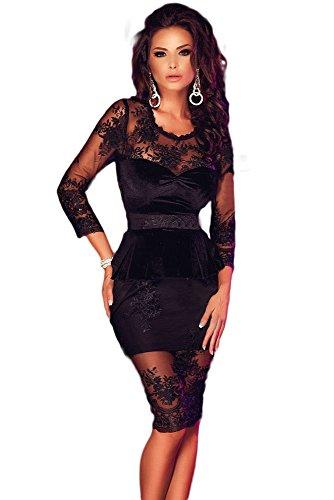 Neuf femmes en velours noir et dentelle péplum bodycon Mini robe de soirée Robe taille M UK 10–12–EU 38–40