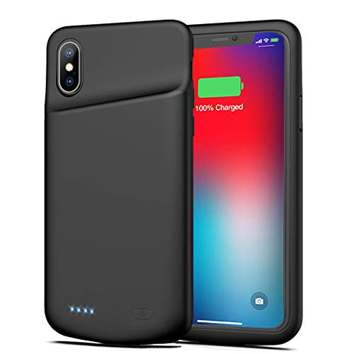 Battery Case for iPhone Xs Max, FNSON 6500mAh Portable Rechargeable Battery Pack Charging Case for iPhone Xs Max (6.5 inch) Extended Battery Charger Case Backup Power Bank (Black)