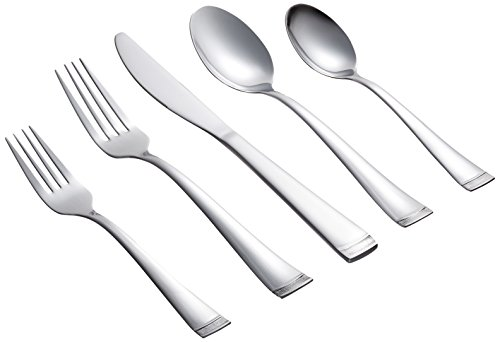 Farberware Poppy Mirror/Pebble 20-Piece Flatware Silverware Set, Stainless Steel, Service for 4, Includes Forks/Spoons/Knives