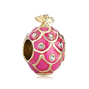 Roy Lopez Rose Pink Drip Gum Bird Crystal Faberge Egg Bead Charms for Charm Bracelets