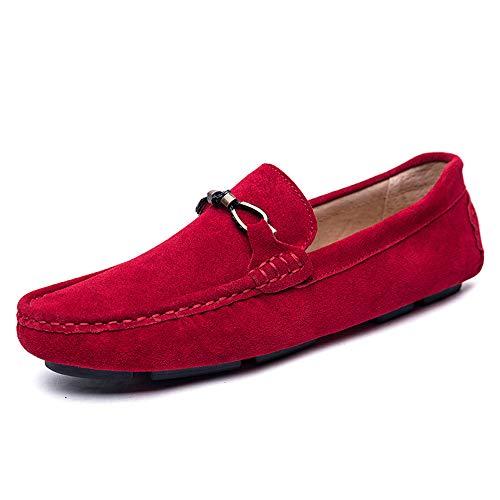 Mocasines Mocasines del Cuero Hombres Casuales Rojo conducción Suaves Barco Ocasionales Antideslizantes los de de de A8rqAX