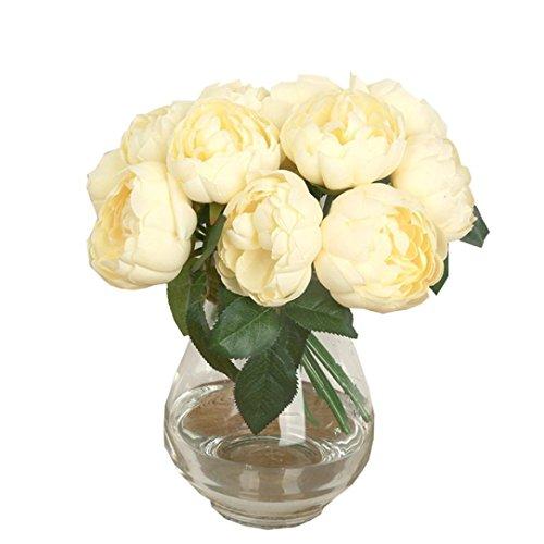 GoodLock 6 Heads Artificial Peony Silk Flower Leaf Home Wedding Decoration Party Home Decor 1 Bouquet (J)