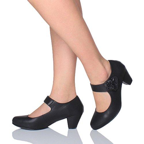 Large Talon Doublé Femme Moyen Escarpin Cuir Confort Noir Chaussure Babies Pointure p4PT6Tq