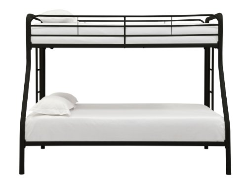 DHP Twin-Over-Full Bunk Bed with Metal Frame and Ladder, Space-Saving Design, Black by DHP (Image #3)