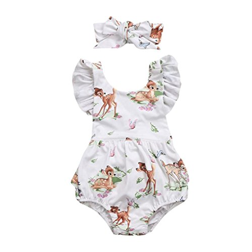 Lanhui Toddler Baby Girl Clothes Deer Romper Headband 2Pcs Set Outfit (Beige, 12Months)