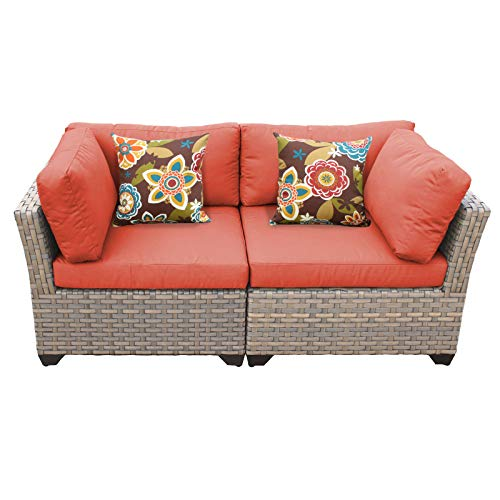 TK Classics Monterey 2 Piece Outdoor Wicker Patio Furniture Set, Tangerine