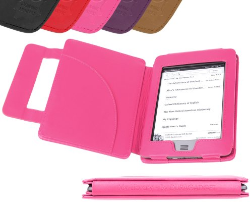 Genuine Leather Kindle Jacket - DURAGADGET Pink Genuine Leather Book Style Cover Case with Magnetic Clasp for New Amazon Kindle Touch & Touch 3G, Wi-Fi, 6