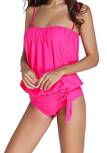 Witch Wig Stripes (YeeATZ Women's Sexy Rosy 2pcs Bandeau Tankini Swimsuit)