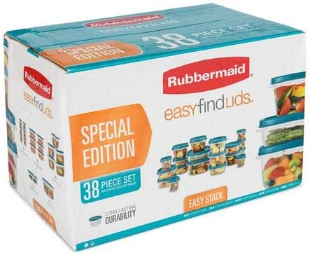 Rubbermaid TEAL Food Storage 38 Piece Vented Lids Easy Find Lids Special Edition